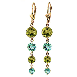 Peridot and Blue Topaz Quadruplo Drop Earrings 7.8ctw in 9ct Gold