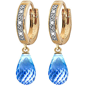 Diamond and Blue Topaz Earrings in 9ct Gold