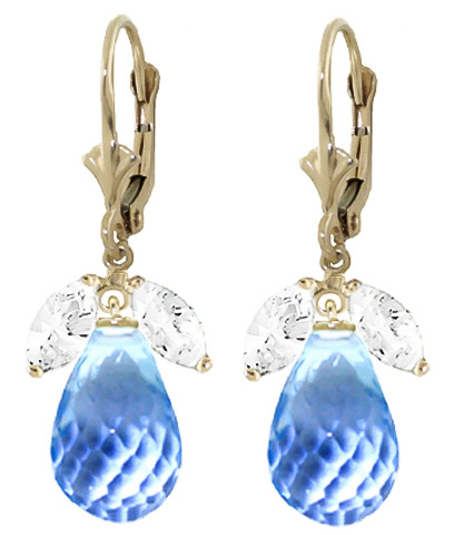 White Topaz and Blue Topaz Drop Earrings 14.4ctw in 9ct Gold