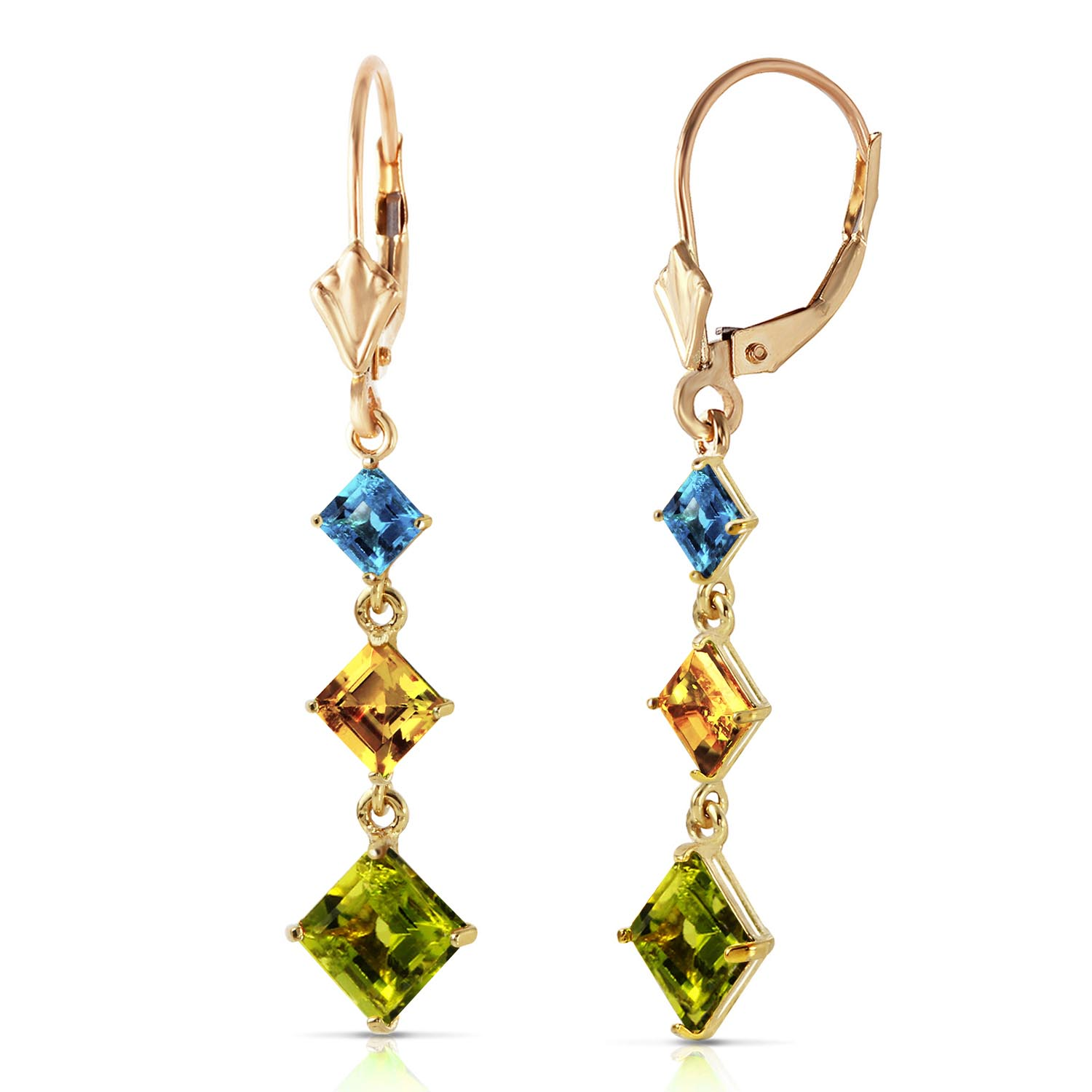 Peridot Blue Topaz and Citrine Three Stone Drop Earrings 4.8ctw in 9ct Gold
