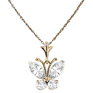 Cubic Zirconia Butterfly Pendant Necklace 1.5ctw in 9ct Gold