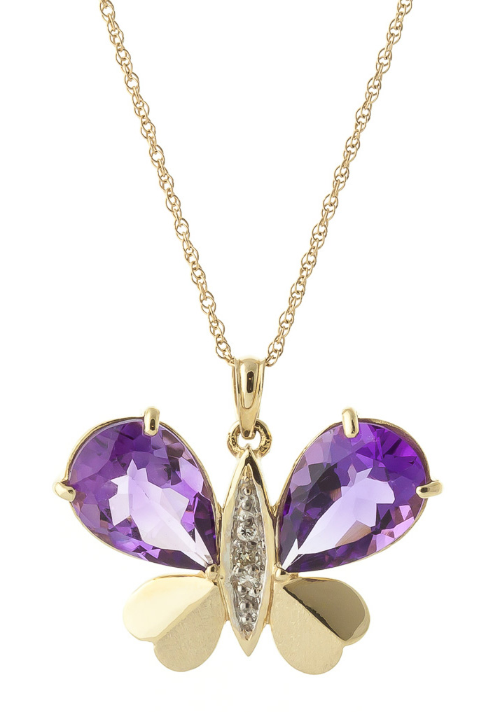 Amethyst and Diamond Butterfly Pendant Necklace 6.5ctw in 9ct Gold