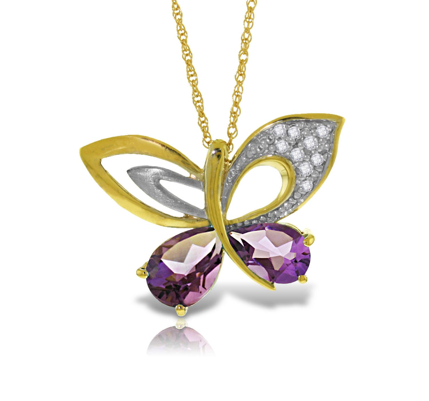 Stockists of Amethyst and Diamond Butterfly Pendant Necklace 3.5ctw in 9ct Gold