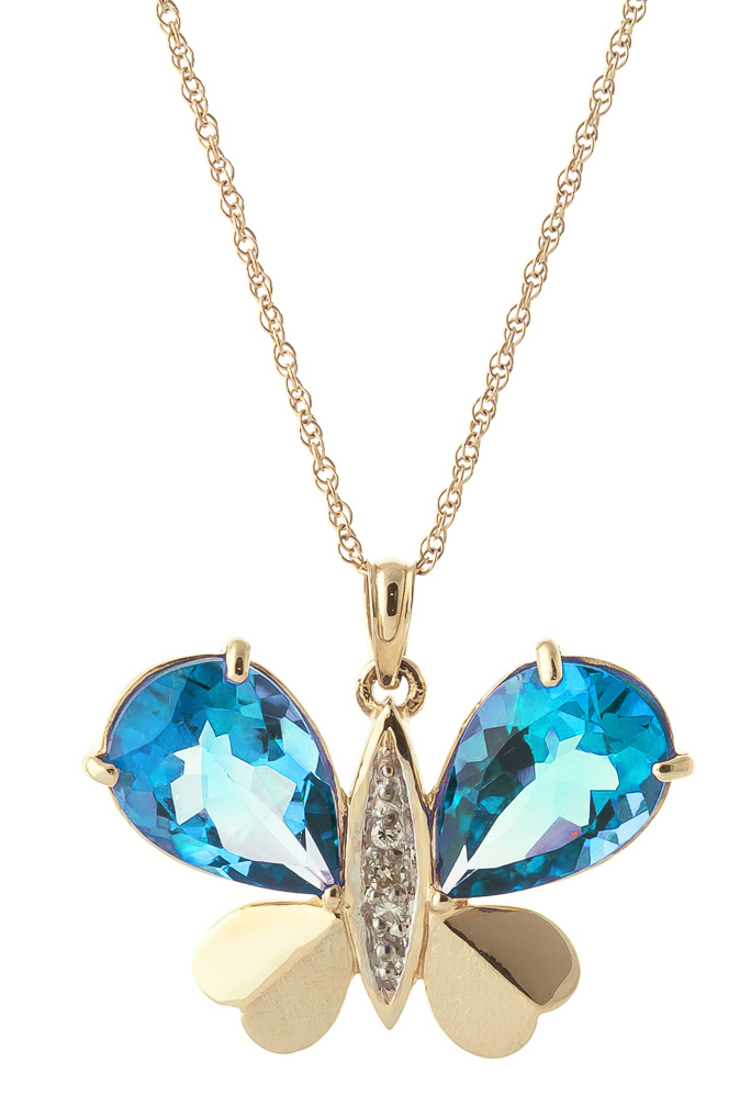 Blue Topaz and Diamond Butterfly Pendant Necklace 9.0ctw in 9ct Gold