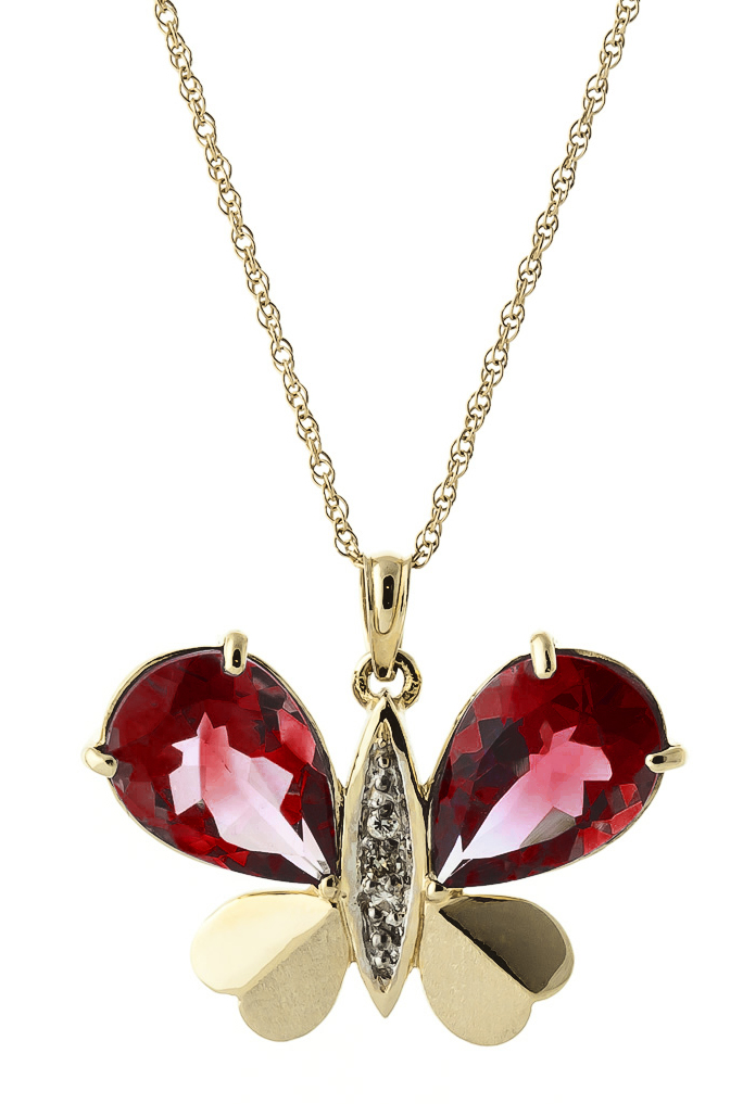 Garnet and Diamond Butterfly Pendant Necklace 7.0ctw in 9ct Gold