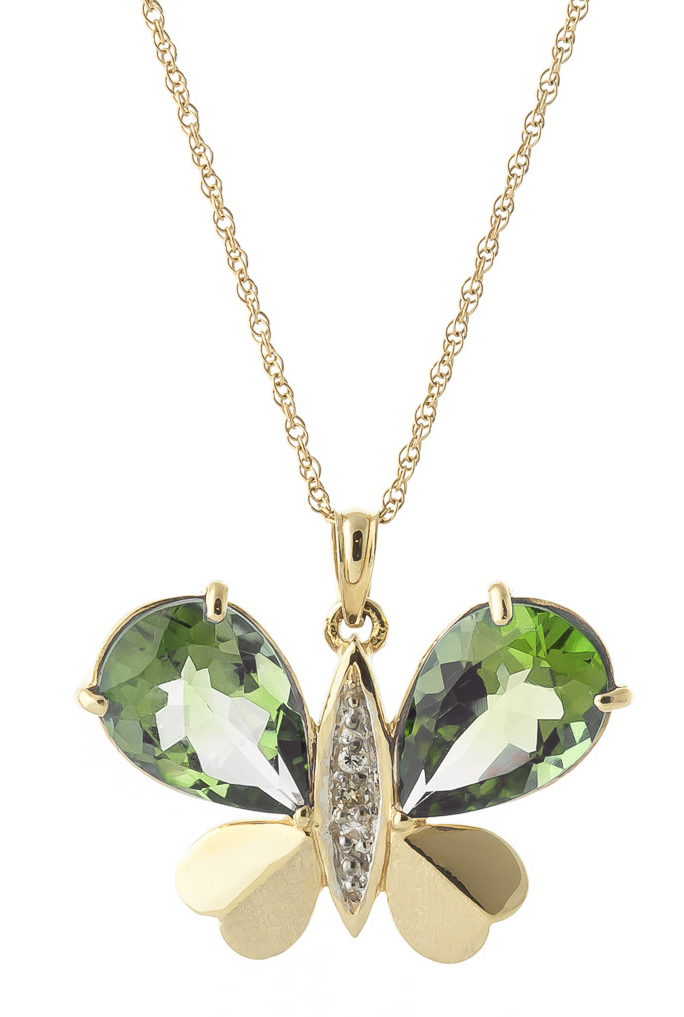 Green Amethyst and Diamond Butterfly Pendant Necklace 6.5ctw in 9ct Gold