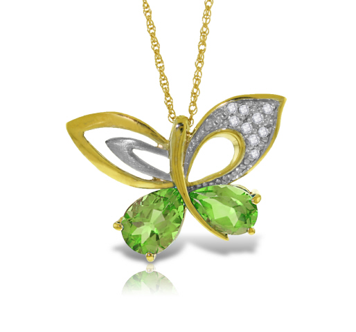 Women's Jewellery Peridot and Diamond Butterfly Pendant Necklace 3.6ctw in 9ct Gold