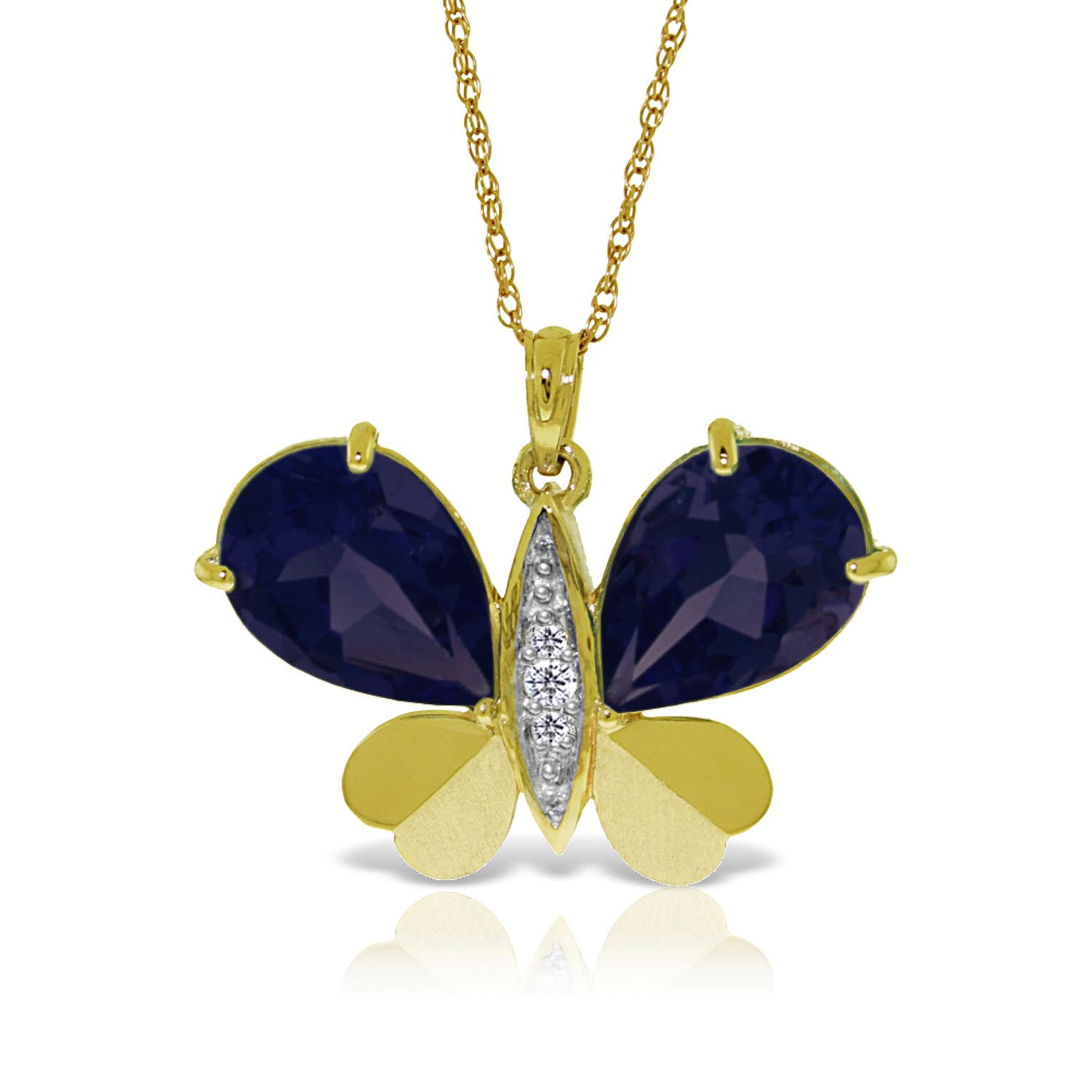 Sapphire and Diamond Butterfly Pendant Necklace 10.5ctw in 9ct Gold