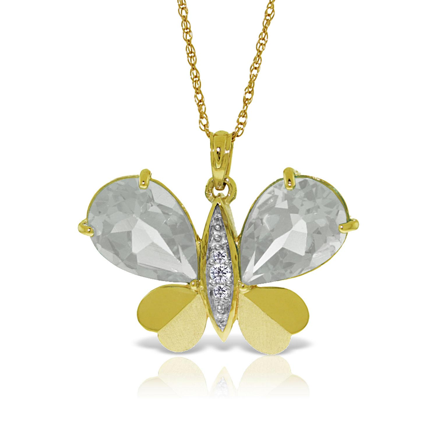 White Topaz and Diamond Butterfly Pendant Necklace 11.0ctw in 9ct Gold