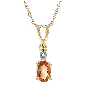 Citrine and Diamond Pendant Necklace 0.45ct in 9ct Gold