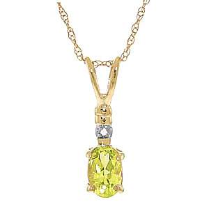 Peridot and Diamond Pendant Necklace 0.45ct in 9ct Gold