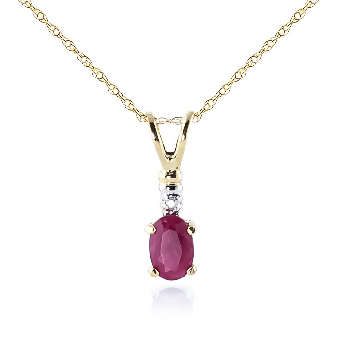 Ruby and Diamond Pendant Necklace 0.45ct in 9ct Gold