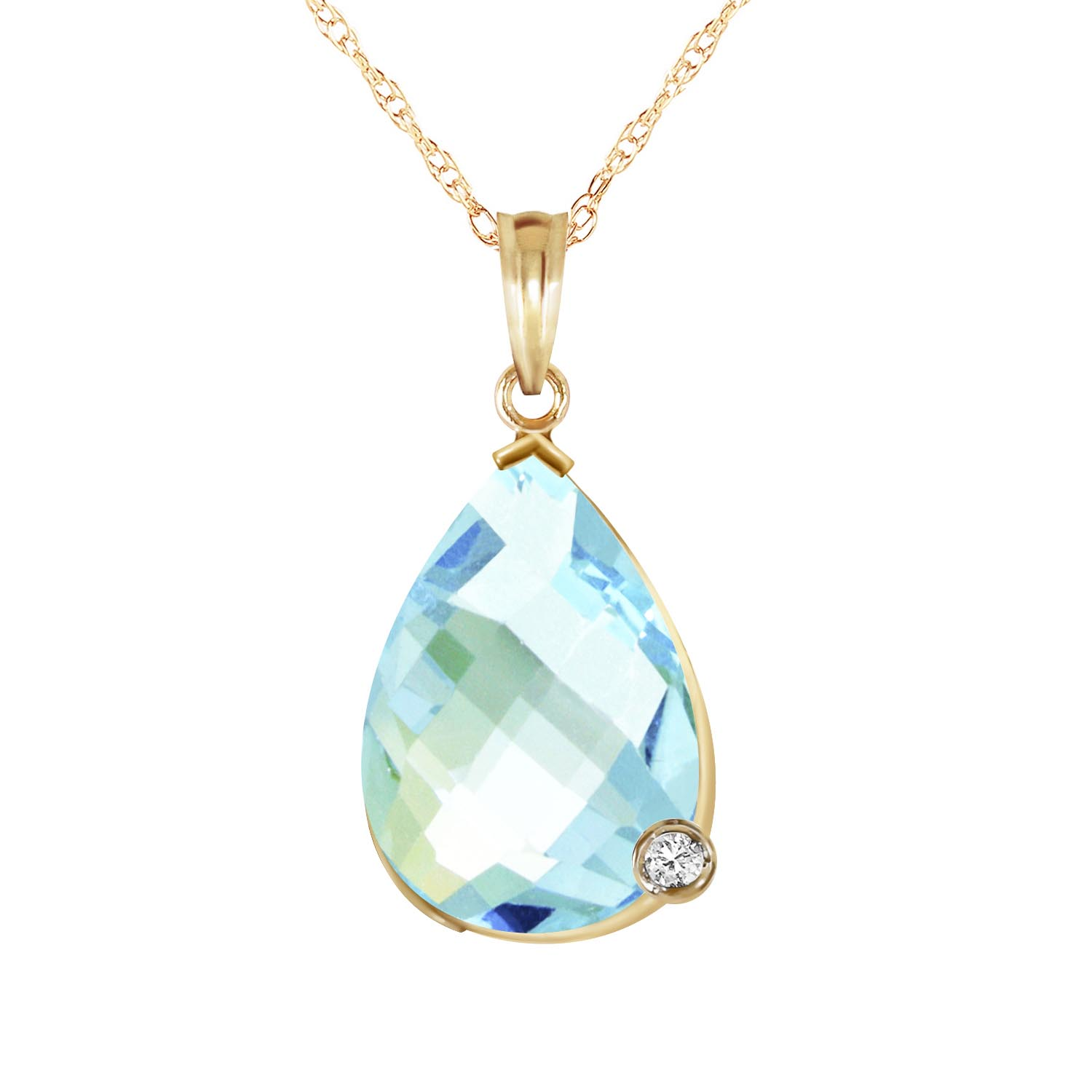 Blue Topaz and Diamond Chequer Pendant Necklace 6.5ct in 9ct Gold