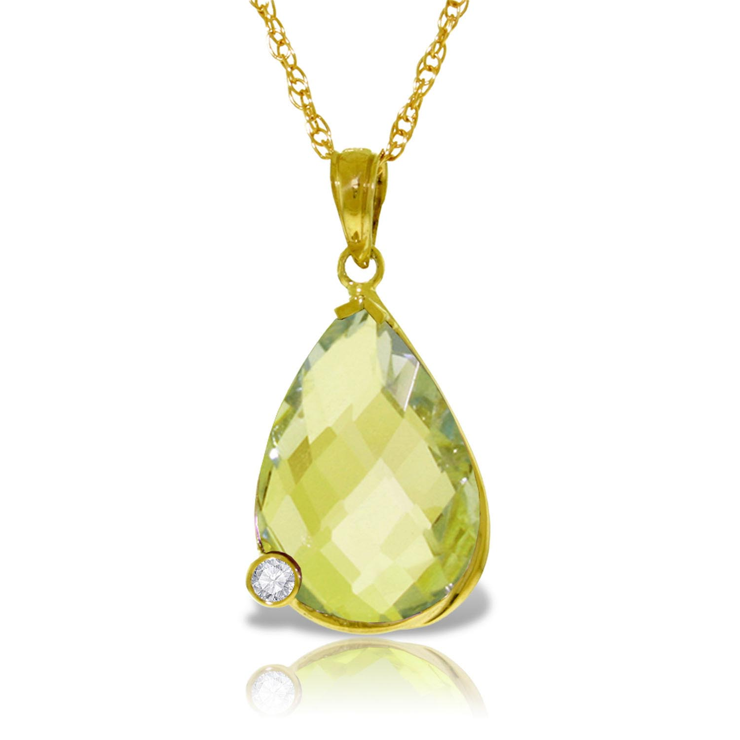 Lemon Quartz and Diamond Chequer Pendant Necklace 5.0ct in 9ct Gold