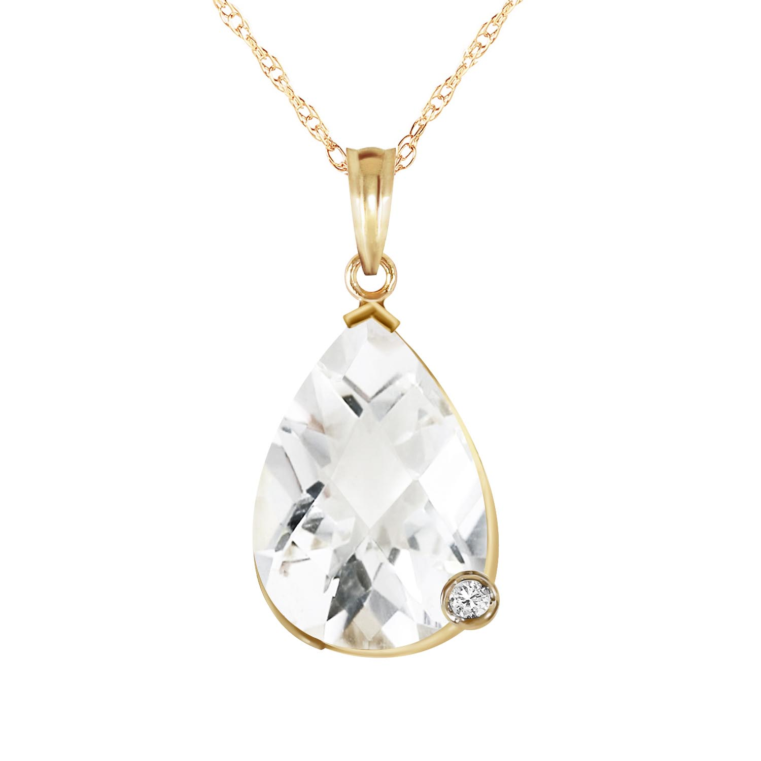 White Topaz and Diamond Chequer Pendant Necklace 5.0ct in 9ct Gold