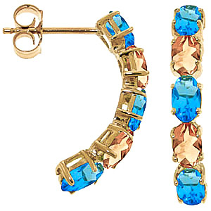 Blue Topaz and Citrine Linear Stud Earrings 2.5ctw in 9ct Gold