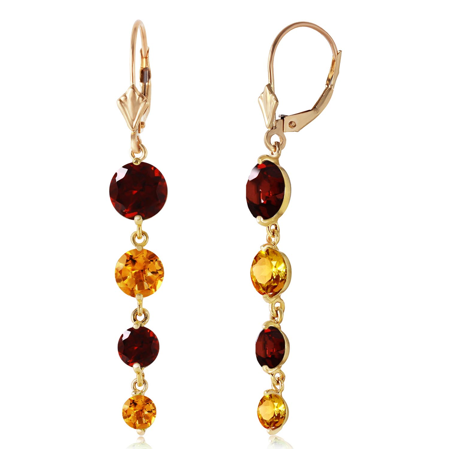 Garnet and Citrine Quadruplo Drop Earrings 7.8ctw in 9ct Gold