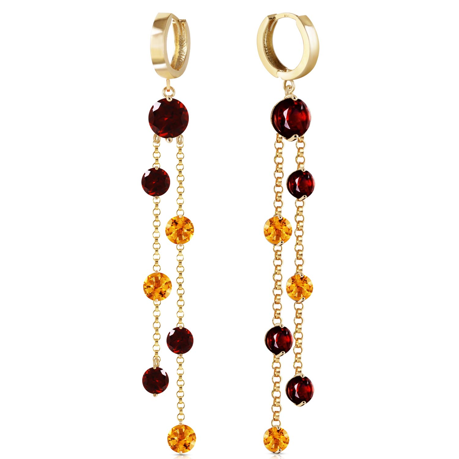 Garnet and Citrine Roman Drop Earrings 8.99ctw in 9ct Gold