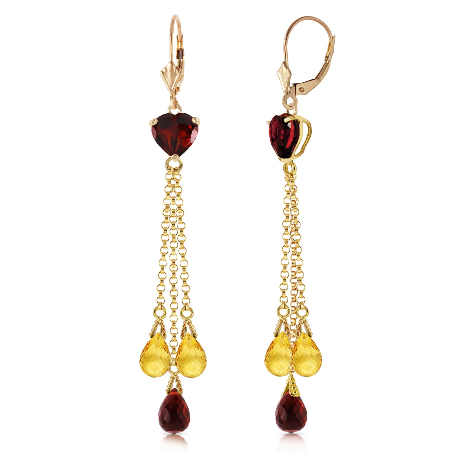 Garnet and Citrine Vestige Drop Earrings 9.5ctw in 9ct Gold