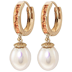 Pearl and Citrine Huggie Earrings 9.3ctw in 9ct Gold