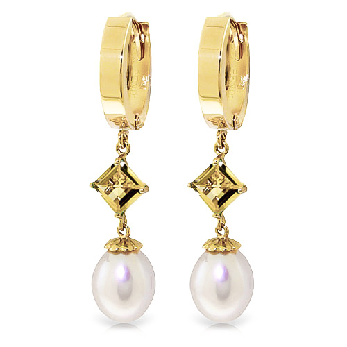 Pearl and Citrine Droplet Huggie Earrings 9.5ctw in 9ct Gold