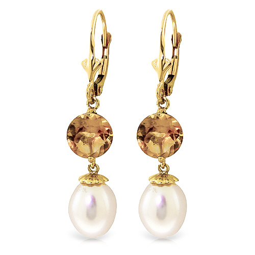 Pearl and Citrine Droplet Earrings 11.1ctw in 9ct Gold