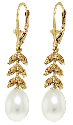 Pearl and Citrine Drop Earrings 9.2ctw in 9ct Gold
