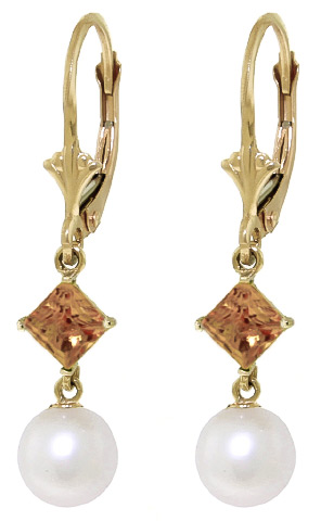 Pearl and Citrine Drop Earrings 5.0ctw in 9ct Gold