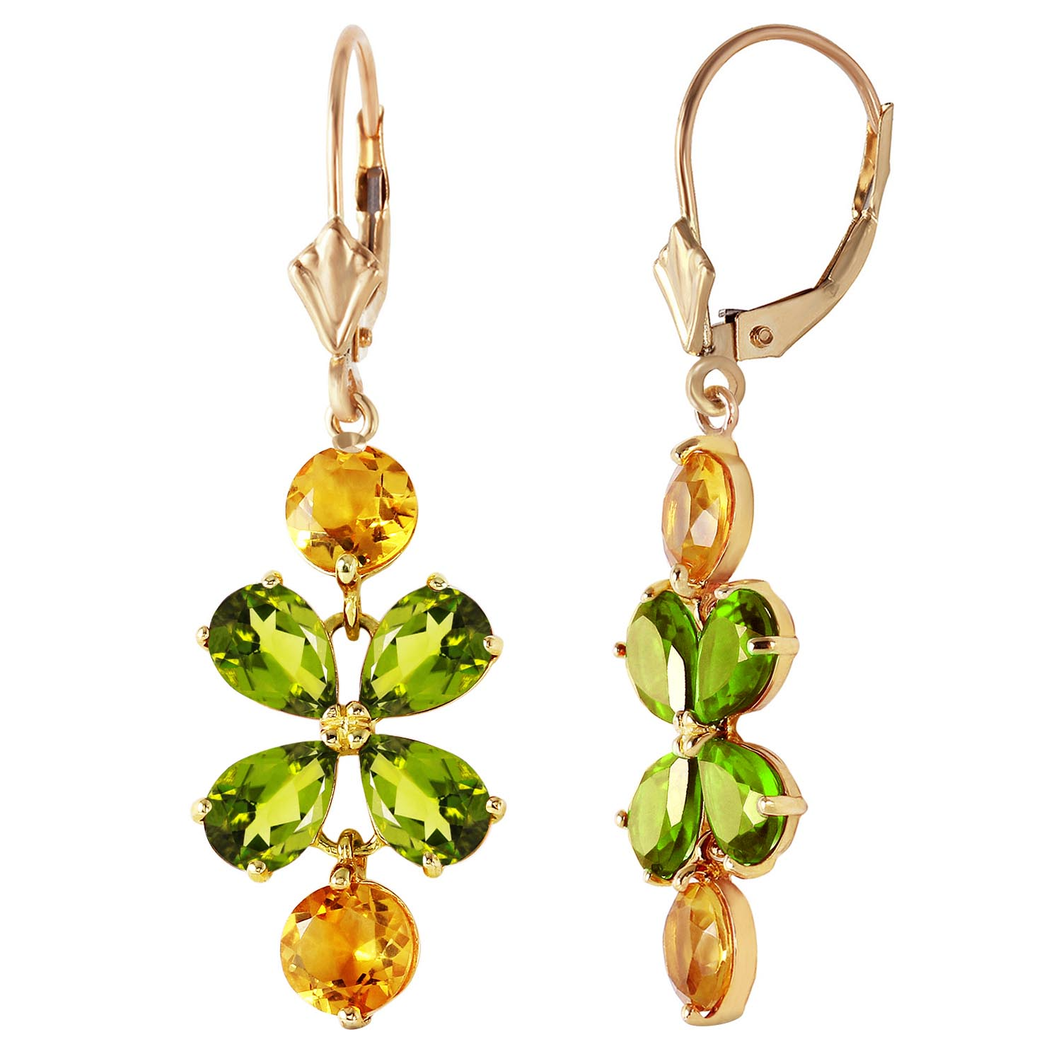 Peridot and Citrine Blossom Drop Earrings 5.32ctw in 9ct Gold