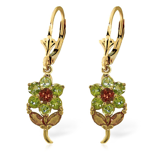 Peridot and Citrine Flower Petal Drop Earrings 2.12ctw in 9ct Gold