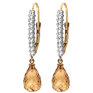 Diamond and Citrine Laced Stem Drop Earrings in 9ct Gold
