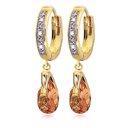 Diamond and Citrine Droplet Huggie Earrings in 9ct Gold