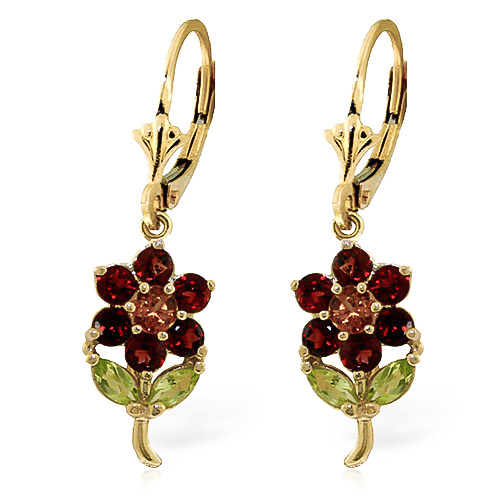 Garnet, Citrine and Peridot Flower Petal Drop Earrings 2.12ctw in 9ct Gold