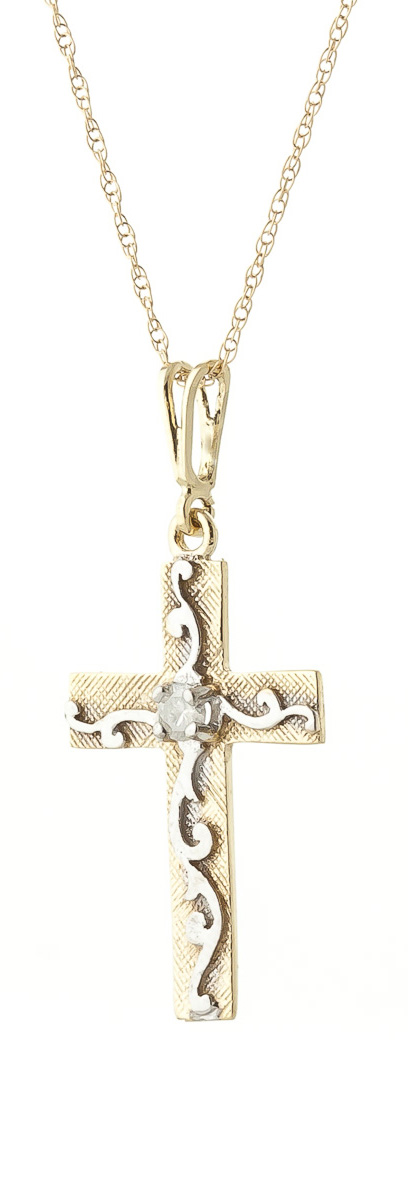 Diamond Cross Pendant Necklace in 9ct Gold