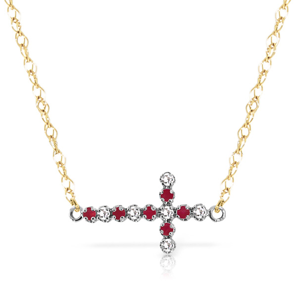 Ruby and Diamond Cross Pendant Necklace 0.15ctw in 9ct Gold