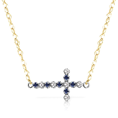 Sapphire and Diamond Cross Pendant Necklace 0.15ctw in 9ct Gold