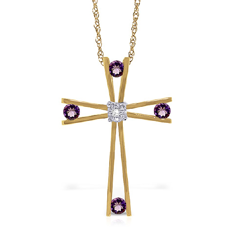 Amethyst and Diamond Cross Pendant Necklace 0.4ctw in 9ct Gold