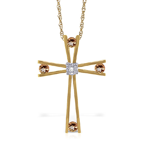 Citrine and Diamond Cross Pendant Necklace 0.4ctw in 9ct Gold
