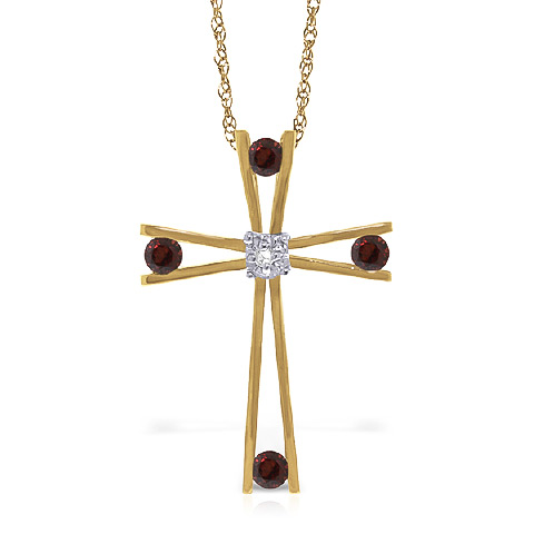 Garnet and Diamond Cross Pendant Necklace 0.4ctw in 9ct Gold