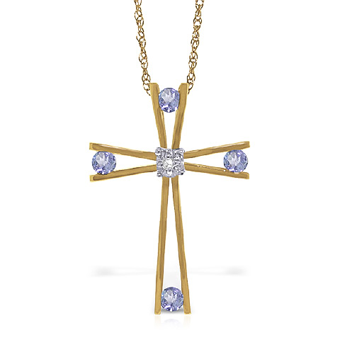 Tanzanite and Diamond Cross Pendant Necklace 0.5ctw in 9ct Gold