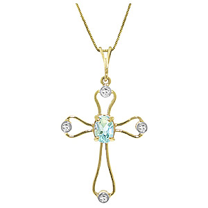 Aquamarine and Diamond Cross Pendant Necklace 0.45ct in 9ct Gold