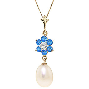 Pearl, Blue Topaz and Diamond Daisy Pendant Necklace 4.5ctw in 9ct Gold