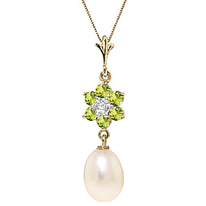 Pearl, Peridot and Diamond Daisy Pendant Necklace 4.5ctw in 9ct Gold