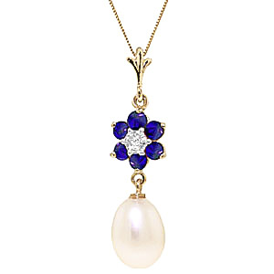 Pearl, Sapphire and Diamond Daisy Pendant Necklace 4.5ctw in 9ct Gold