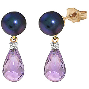 Black Pearl, Diamond and Amethyst Stud Earrings 6.5ctw in 9ct Gold