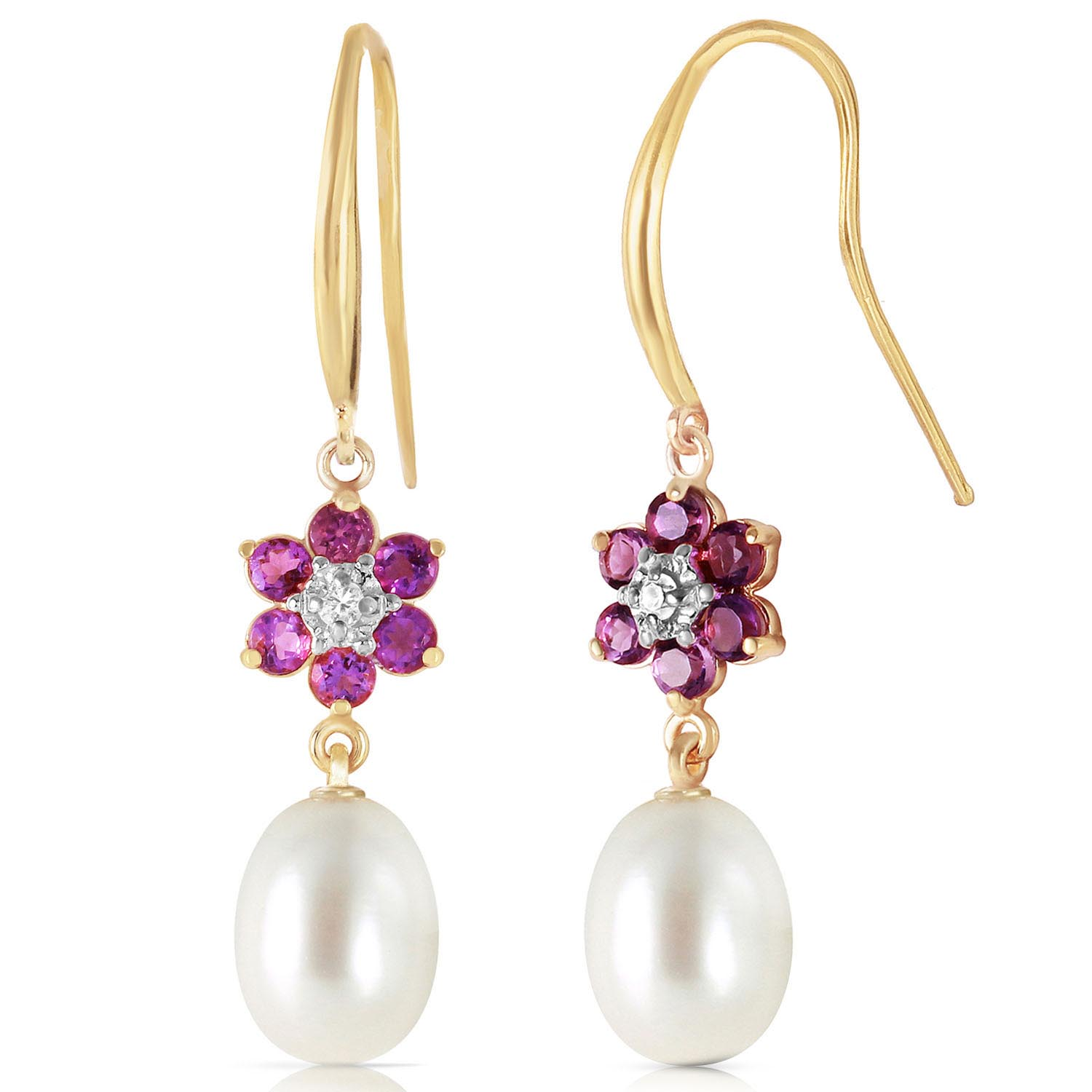 Pearl, Diamond and Amethyst Daisy Chain Drop Earrings 8.95ctw in 9ct Gold