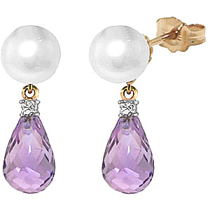 Pearl, Diamond and Amethyst Stud Earrings 6.5ctw in 9ct Gold