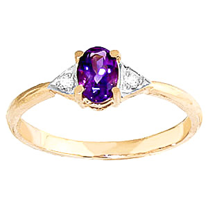 Amethyst and Diamond Allure Ring 0.45ct in 9ct Gold