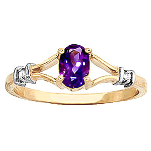 Amethyst and Diamond Aspire Ring 0.45ct in 9ct Gold