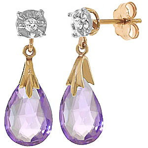Amethyst and Diamond Comet Stud Earrings 6.0ctw in 9ct Gold